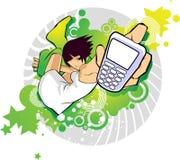 Rapariga com móbil ilustração stock