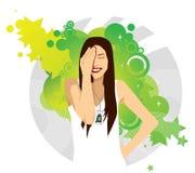 Rapariga com móbil ilustração do vetor