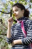 Rapariga com o lenço da bandeira americana Imagens de Stock