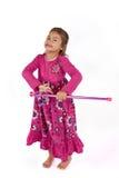 Rapariga com o vestido cor-de-rosa no estúdio Fotografia de Stock Royalty Free