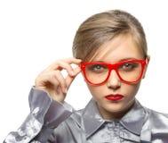 Rapariga com os vidros Fotos de Stock Royalty Free