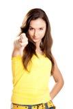 Rapariga com polegares para baixo imagens de stock