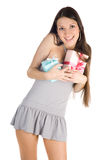 Rapariga com presentes Imagem de Stock