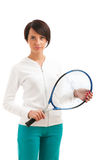 Rapariga com raquete de tênis e bal isolado Fotografia de Stock