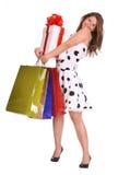 Rapariga com saco do presente e caixa de presente. Fotografia de Stock Royalty Free