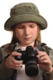 Rapariga com SLR-como a câmara digital imagens de stock