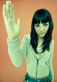 Rapariga com sustentação da mão fotografia de stock