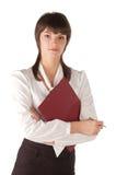 Rapariga com a tabuleta para papéis Fotografia de Stock Royalty Free