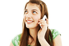 Rapariga com telefone fotografia de stock