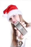Rapariga com telefone móvel Imagens de Stock