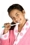 Rapariga com toothbrush dentro Imagem de Stock Royalty Free