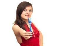Rapariga com uma forquilha em sua mão Foto de Stock Royalty Free