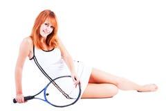 Rapariga com uma raquete para o tênis Imagem de Stock Royalty Free