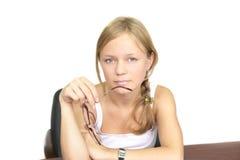 Rapariga com vidros fotografia de stock