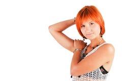 Rapariga de fascínio bonita na túnica foto de stock royalty free