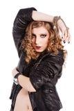 Rapariga de fascínio bonita no revestimento preto Fotografia de Stock Royalty Free
