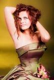Rapariga de fascínio bonita no vestido Foto de Stock