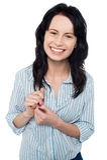 Rapariga de sorriso que levanta ocasional Imagens de Stock Royalty Free
