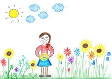 Rapariga do desenho da criança com flores Fotos de Stock Royalty Free