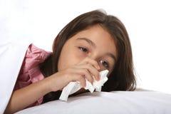 Rapariga doente com frio Fotos de Stock Royalty Free