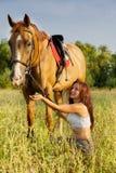 Rapariga e cavalo Foto de Stock