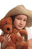 Rapariga e urso de peluche imagens de stock