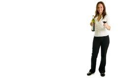 Rapariga e vinho vermelho Imagens de Stock Royalty Free