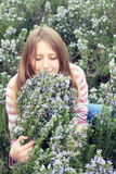 Rapariga bonita em um campo de grama do rosemary Fotografia de Stock