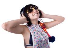 A rapariga em um fundo branco Imagem de Stock