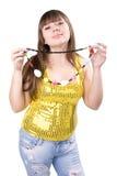 A rapariga em um fundo branco Fotos de Stock Royalty Free