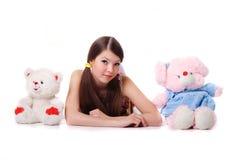 Rapariga encantadora com brinquedos Imagem de Stock Royalty Free