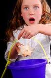 Rapariga excitada em encontrar o Seashell imagem de stock