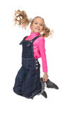 Rapariga feliz de salto Imagem de Stock Royalty Free