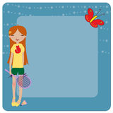 Rapariga Funky, jogando o badminton Imagens de Stock Royalty Free