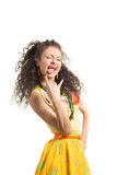 A rapariga mostra a língua Fotografia de Stock Royalty Free