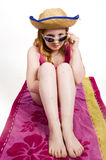 Rapariga na toalha fotografia de stock