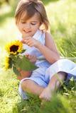 Rapariga no girassol da terra arrendada do campo do verão Fotografia de Stock