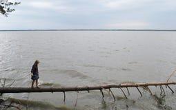 Rapariga no lago Imagem de Stock