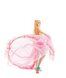 Rapariga no traje da boneca do fairy-tale isolado Imagens de Stock