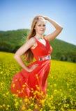Rapariga no vermelho Imagem de Stock