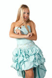Rapariga no vestido de esfera azul. imagem de stock