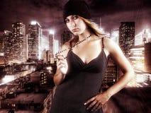 Rapariga no vestido preto Fotografia de Stock