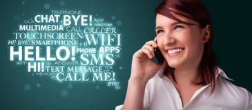 Rapariga que chama pelo telefone com nuvem da palavra Fotografia de Stock