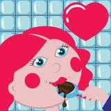 Rapariga que come o chocolate Ilustração Stock