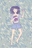 Rapariga que dorme na grama ilustração do vetor