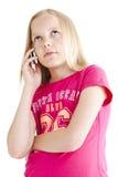 Rapariga que fala no telefone fotografia de stock