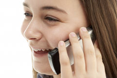 Rapariga que fala no telefone móvel Fotografia de Stock