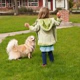 Rapariga que joga uma esfera para um cão pequeno Imagens de Stock Royalty Free