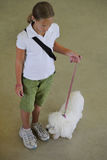 Rapariga que mostra em uma competição do cão Foto de Stock