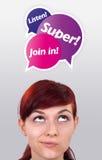 Rapariga que olha o tipo do Internet de ícones Imagens de Stock Royalty Free